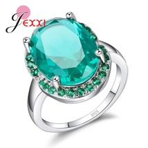 Cool Big Oval Cubic Zircon Stone Promise Rings Sparkling Real Sterling S... - $12.78