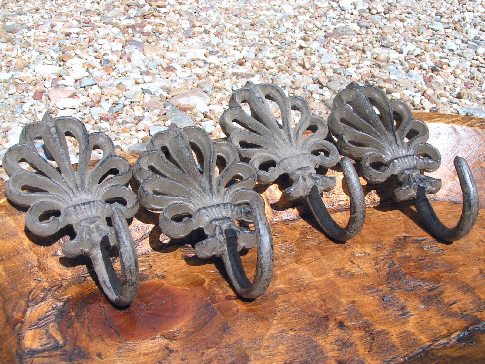 FOUR Victorian Cast Iron Bath Towel Wall hooks Heavy bz