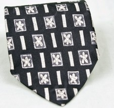 Stafford 100% Imported Silk Neck Tie Geometric Black/Tan/Beige - $6.53