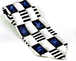 Zylos by George Machado 100% Silk Neck Tie Geometric  White Blue Black - $7.43