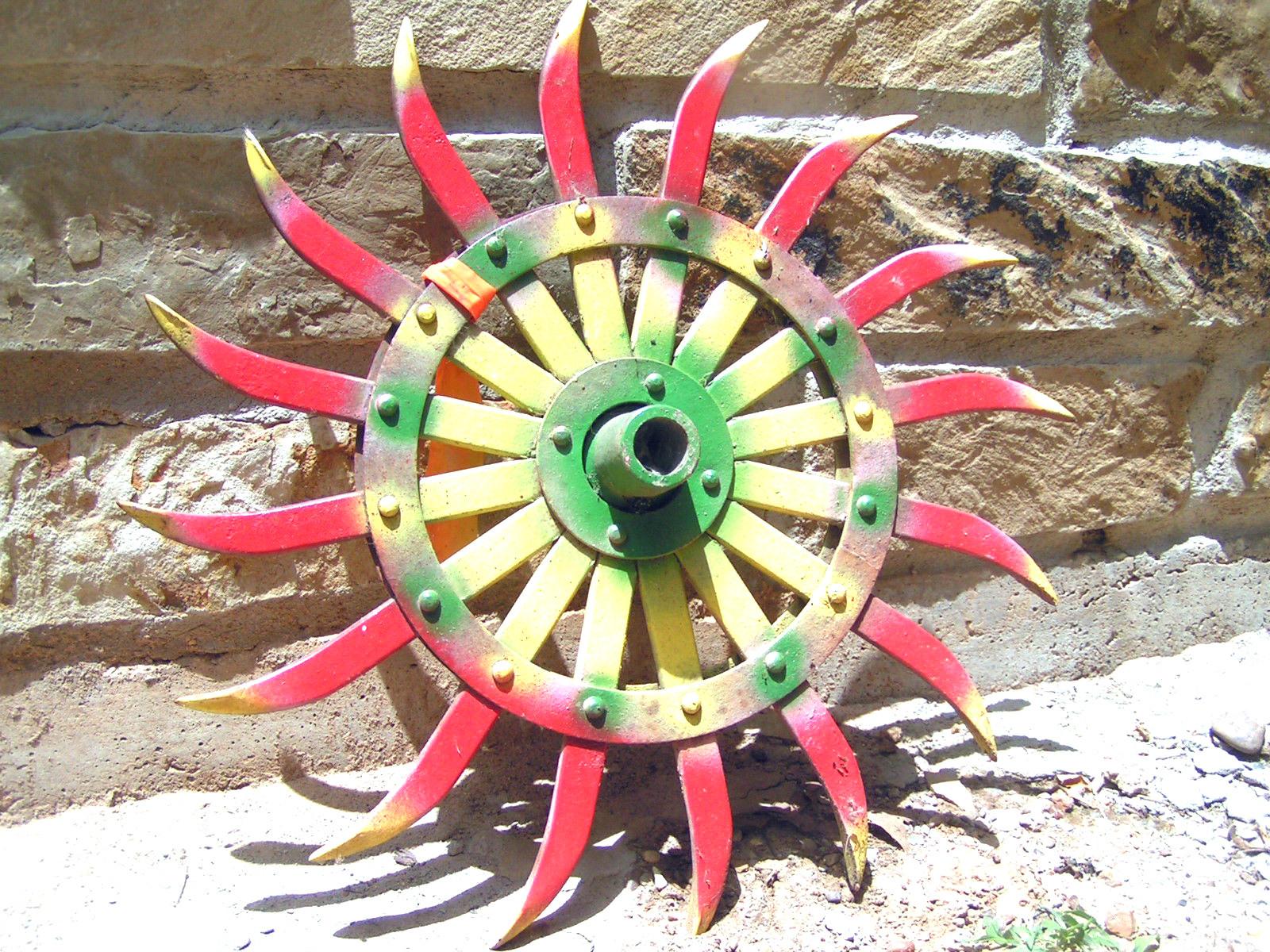 Garden Tiller Wheels : Old iron rotary tiller wheel garden art decor bz