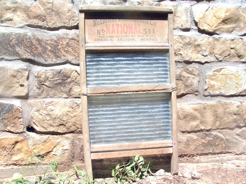 Primary image for Old Antique Primitive NATIONAL 511 Washboard Wood Glass 86 bz