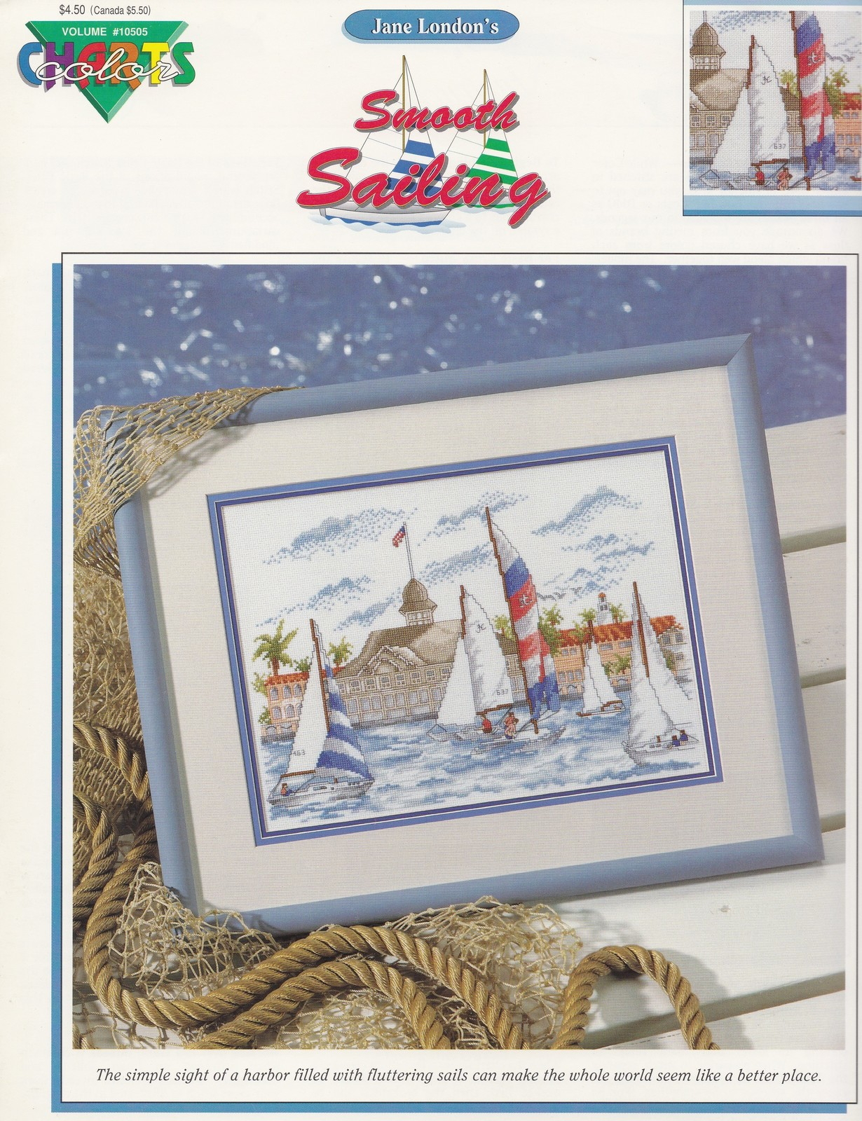Primary image for Smooth Sailing, Color Charts Cross Stitch Pattern Booklet 10505 Sailboats Sea