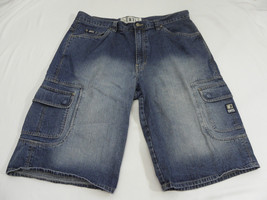 Enyce Solid Blue 100% Cotton Demiun Flat Front Casual Shorts Sz: 38/14.5 - $13.99