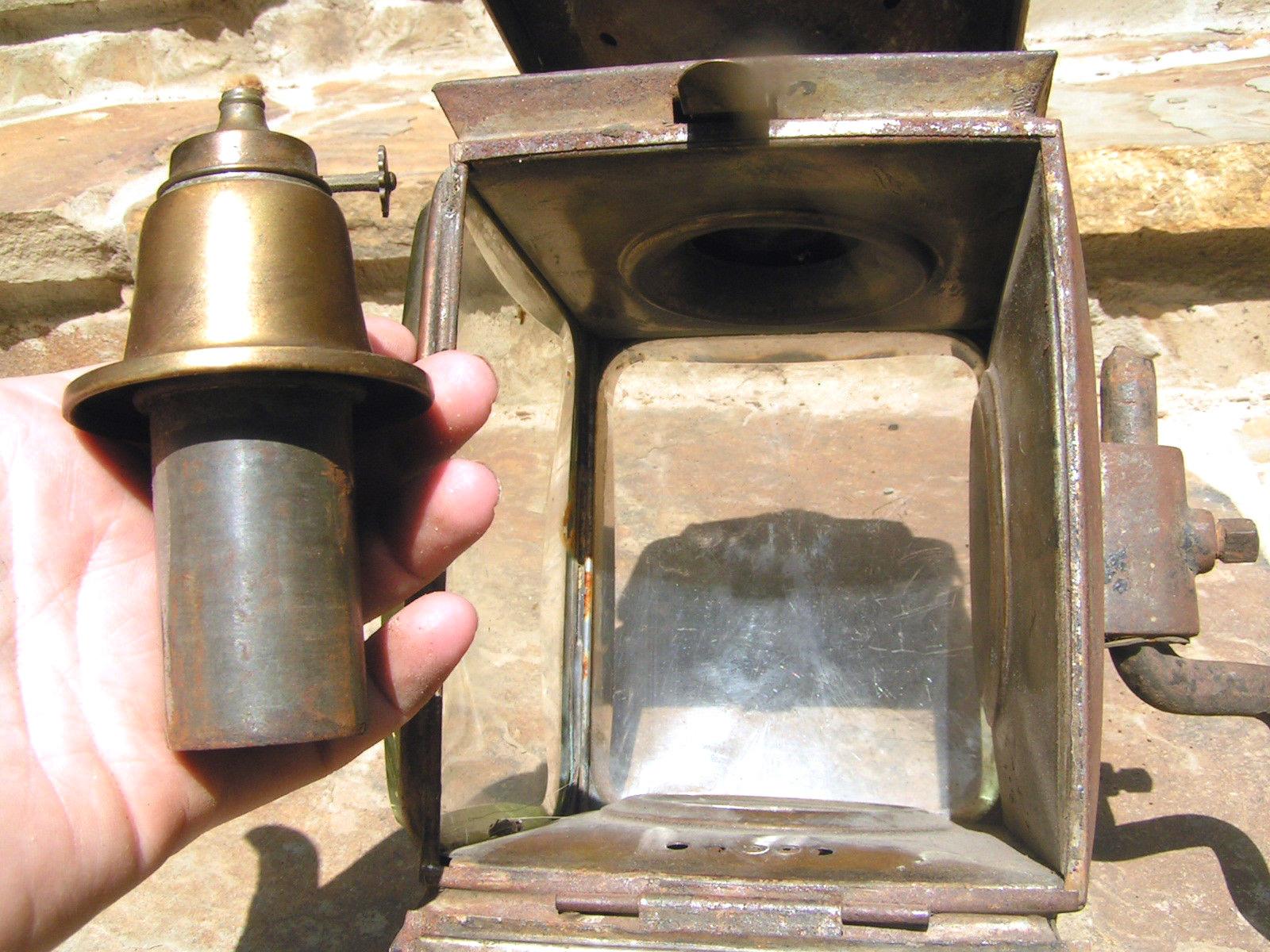 Antique Carriage Lamp Lantern Buggy Auto Beveled glass BZ