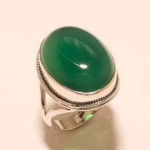 Natural Queensland Chrysoprase Gemstone Sterling Silver Ring Handmade Jewelry AA - $21.55