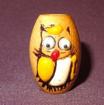Vintage Owl Wooden Painted Bead Goggle Eyes Craft Chain - $15.78