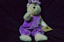 Vintage The Boyds Bear Investment Collectable White Bear Lavender Jumpsuit & Bow - $14.30