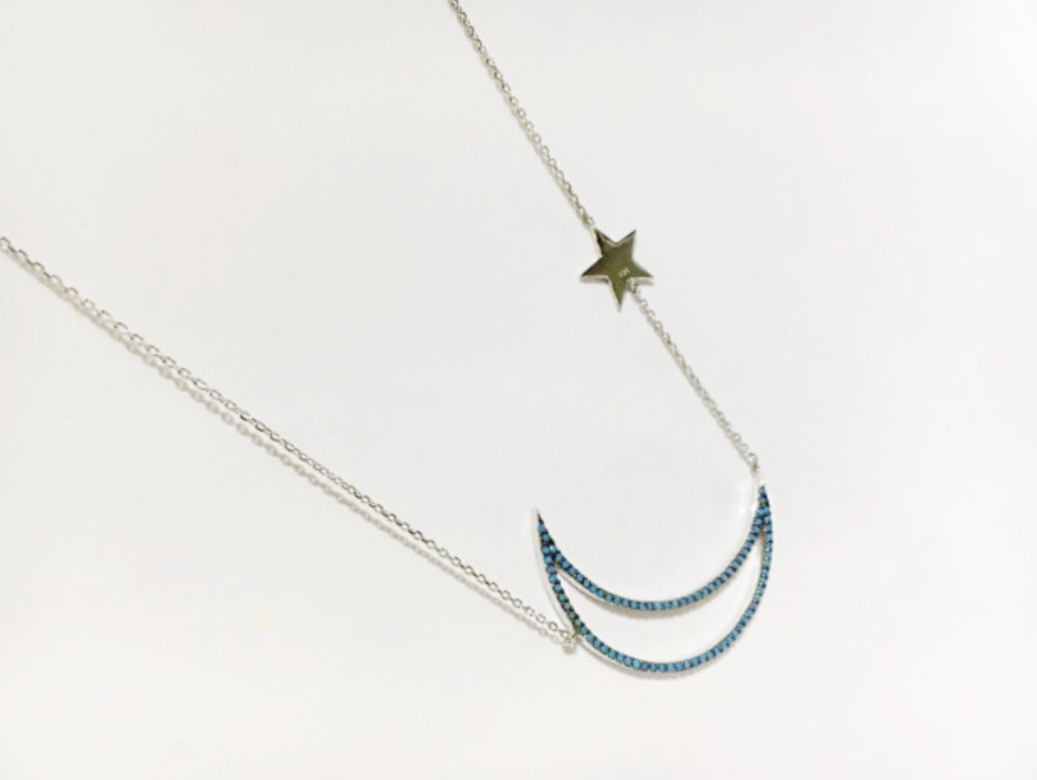 925 sterling silver Turquoise setting Open Crescent moon and Twinkle Stars Neckl