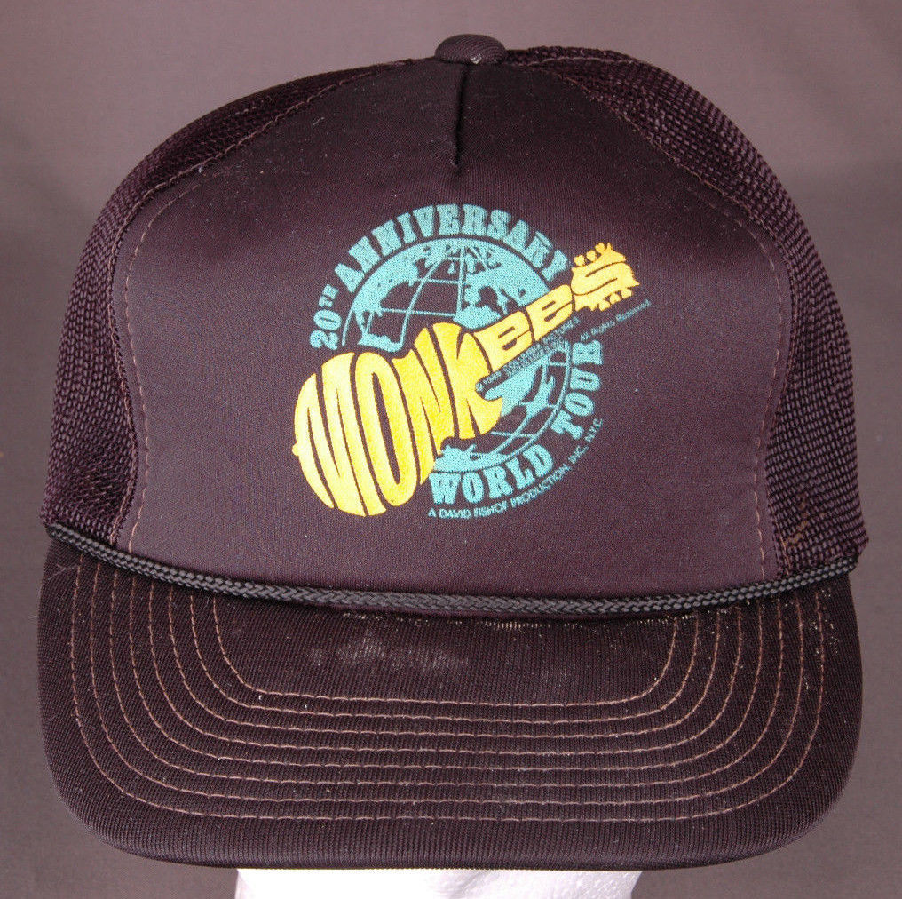 Primary image for Vtg MONKEES 20th Anniversary World Tour Hat-Rope Bill-Snapback-Mesh-Black-Rock..