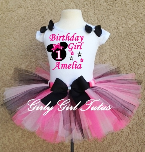 Girls Minnie Mouse Black/Pink 1st Birthday Tutu Outfit