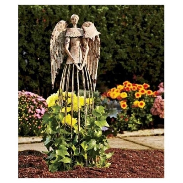 Distressed metal garden angel  plant cage trellis