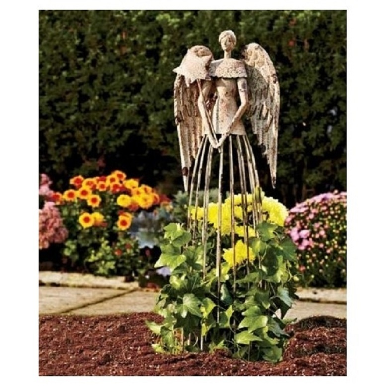 Distressed Metal Garden Angel Plant Cage Trellis Antiqued Metal Stake Statue