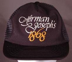 Vtg Herman Joseph's 1868 Trucker Hat-Floppy Front-Snapback-Mesh-Black-Cr... - $23.36