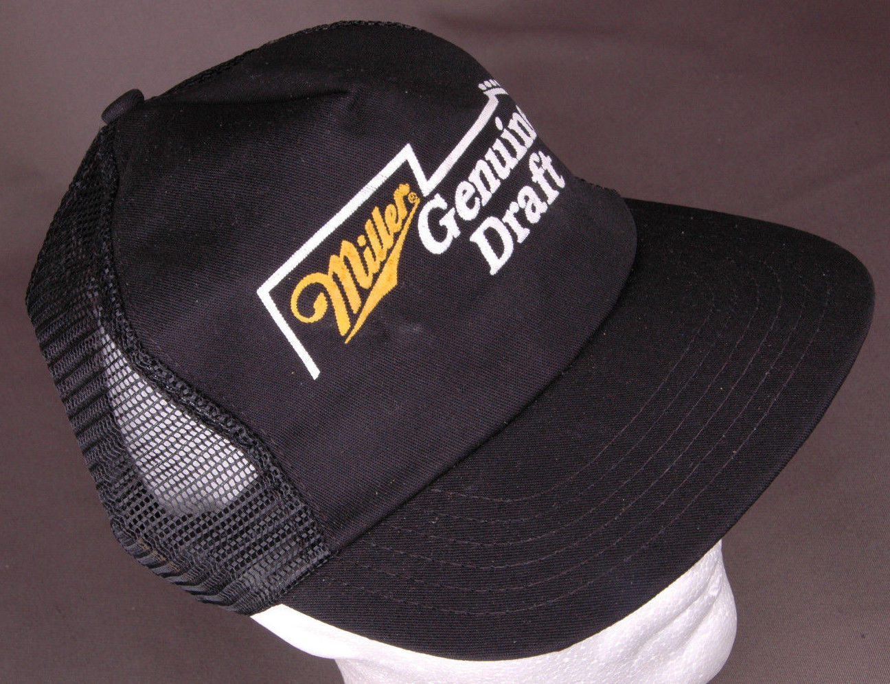 7a3d144cd1a Vtg Miller Genuine Draft Trucker Hat-Guitar-Snapback-Mesh-Black-Beer