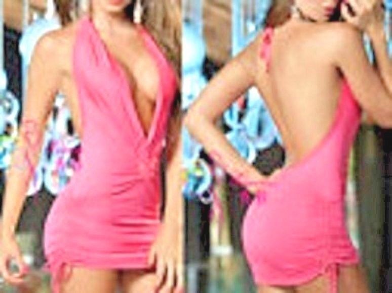 Primary image for Womens Sexy Low Front/Back Mini Sides Pull Lingerie Dress Fit S-4-6 Pink Light M