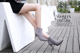pb084 Sweet floral lace & pu leather stiletto booties,size 34-41, gray - $48.80