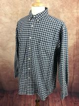American Eagle Outfitters Men's Rugged Oxford Navy Blue White Check Shirt Large image 3
