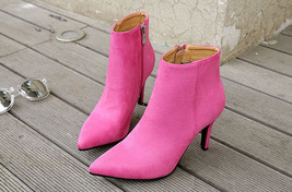 pb085 Sweet sharp head booties, zipper side, pu suede leather,size 34-40, pink - $48.80
