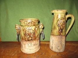 Vintage Glazed Clay/Cement Amphora Like Urn Vase & Tall Pitcher-Fleur de Lis - $124.95