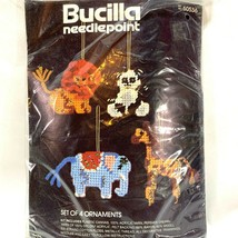 Bucilla Christmas Ornaments set of 4 Needlepoint Zoo Animals Elephant Gi... - $14.55