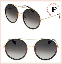 1b2b65edab GUCCI 0061 Gold Red Web Round Oversized Green Gradient Metal Sunglasses  GG0061S -  272.25