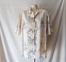 Sz L NWT Caribbean Men's Hawaiian Shirt S/S Silk Cotton Blend Yellow w H... - $29.39