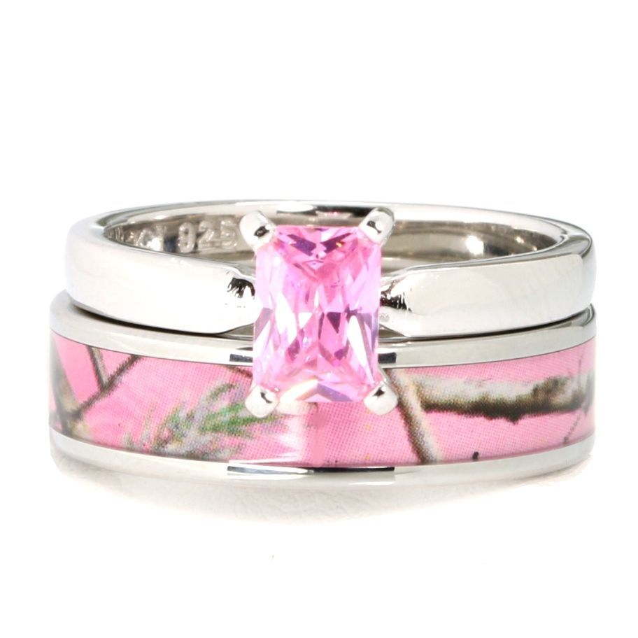 Primary image for Pink Camo Stainless Steel Band 925 Sterling Silver Tourmaline Wedding Ring Set