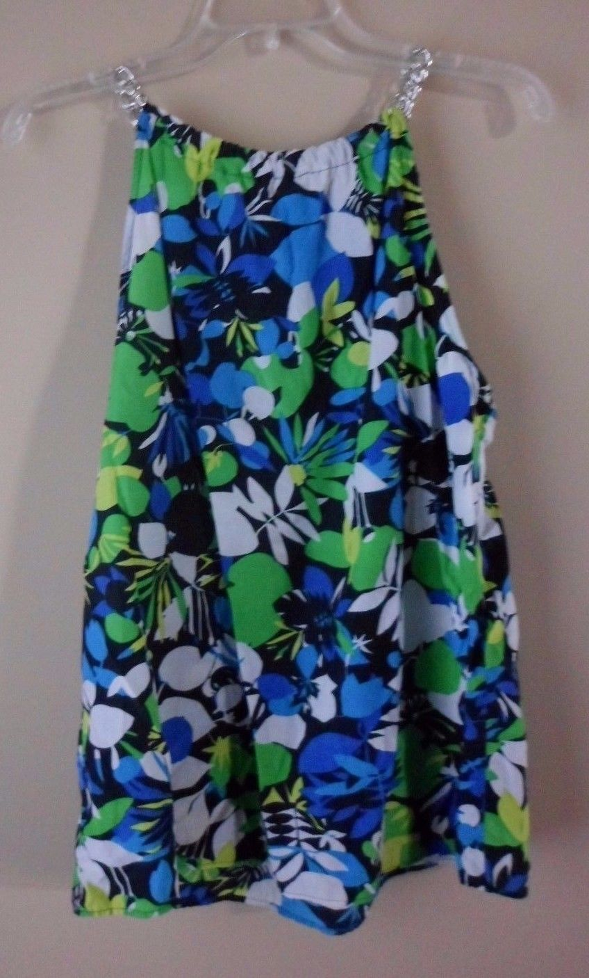 Primary image for Kenneth Cole New York Sleeveless Tunic Top Size 12 Green Blue White  yellow