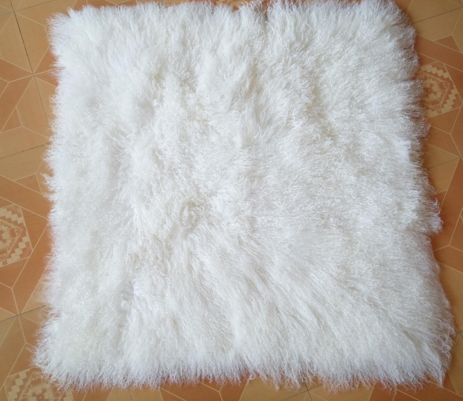 White Mongolian Fur Rug Throw Carpet Blanket Tibet