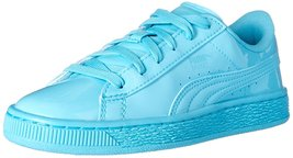 PUMA Basket Classic Patent JR Sneaker, Blue Atoll/Blue Atoll, 5 M US Big... - $62.00