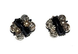 vintage clip earrings black lucite - $4.94