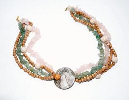 vintage chunky choker necklace green gemstone pink quartz marble - $24.74