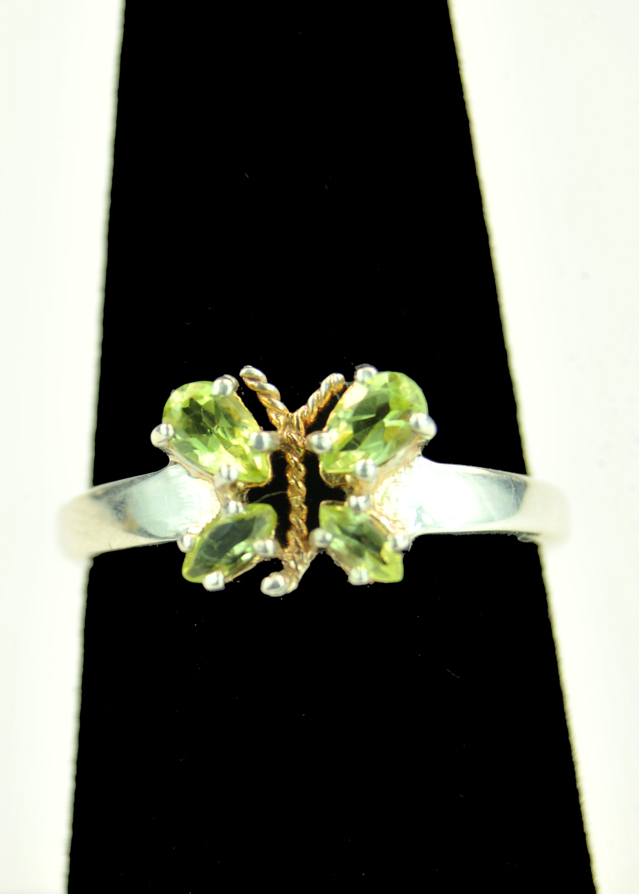 Sweet Butterfly Ring-- Genuine Peridots set in 925 Sterling Silver
