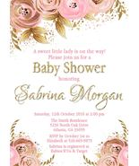 PRINTABLE Pink & Gold Floral Baby Shower Invitaiton Personalized Custom - $9.99