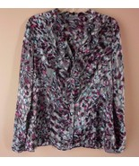 Anne Klein Blouse Grey Pink Green Ruffle Front  Long Sleeve Size Large - $19.55