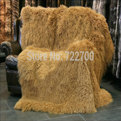 Mongolian Lamb Fur Rug Decorative Blankets Throw Tibetan Blanket Bed Carpet New