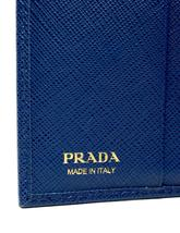 Authentic PRADA Leather Logo Wallet Women Purse Wallet Blue Trifold image 4