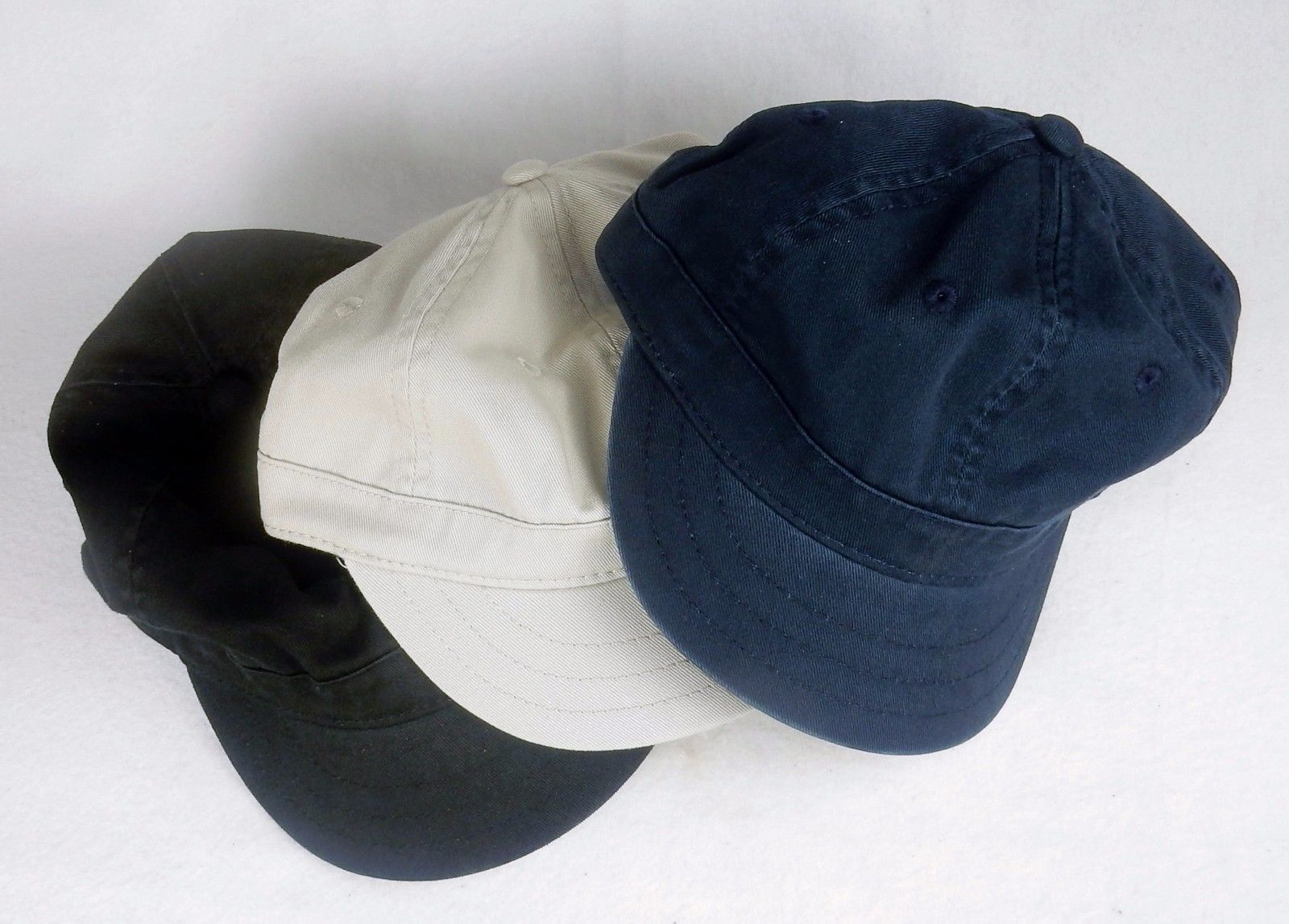 Primary image for 6 Panel Cotton Twill Ball Cap ~ Shortie Curved Bill ~ Black/Stone/Navy ~ #BA500