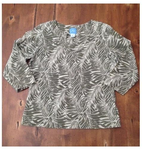Primary image for Lara Lane Tan Taupe Palm Print Pullover Casual Top Medium M