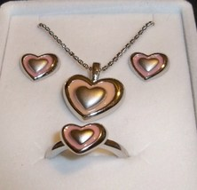 Disney Sterling Silver Enamel Hearts Charm Necklace & Ring & Earrings Set NIB!  - $34.99