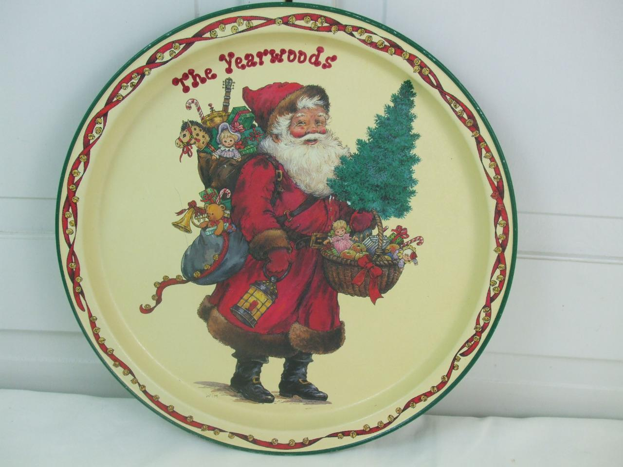 Primary image for Vintage Round Tin Tray Santa Clause Potpourri Press 1991 The Yearwoods 13.5""