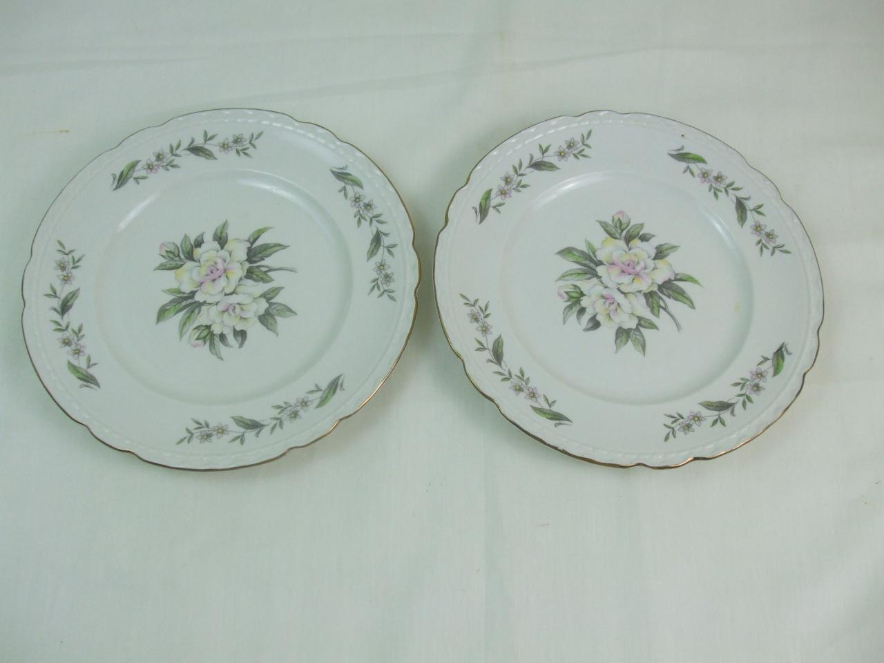 Primary image for 2 Salad Plates Gardenia Pattern Gold Scalloped Edges Embassy USA Vitrified China