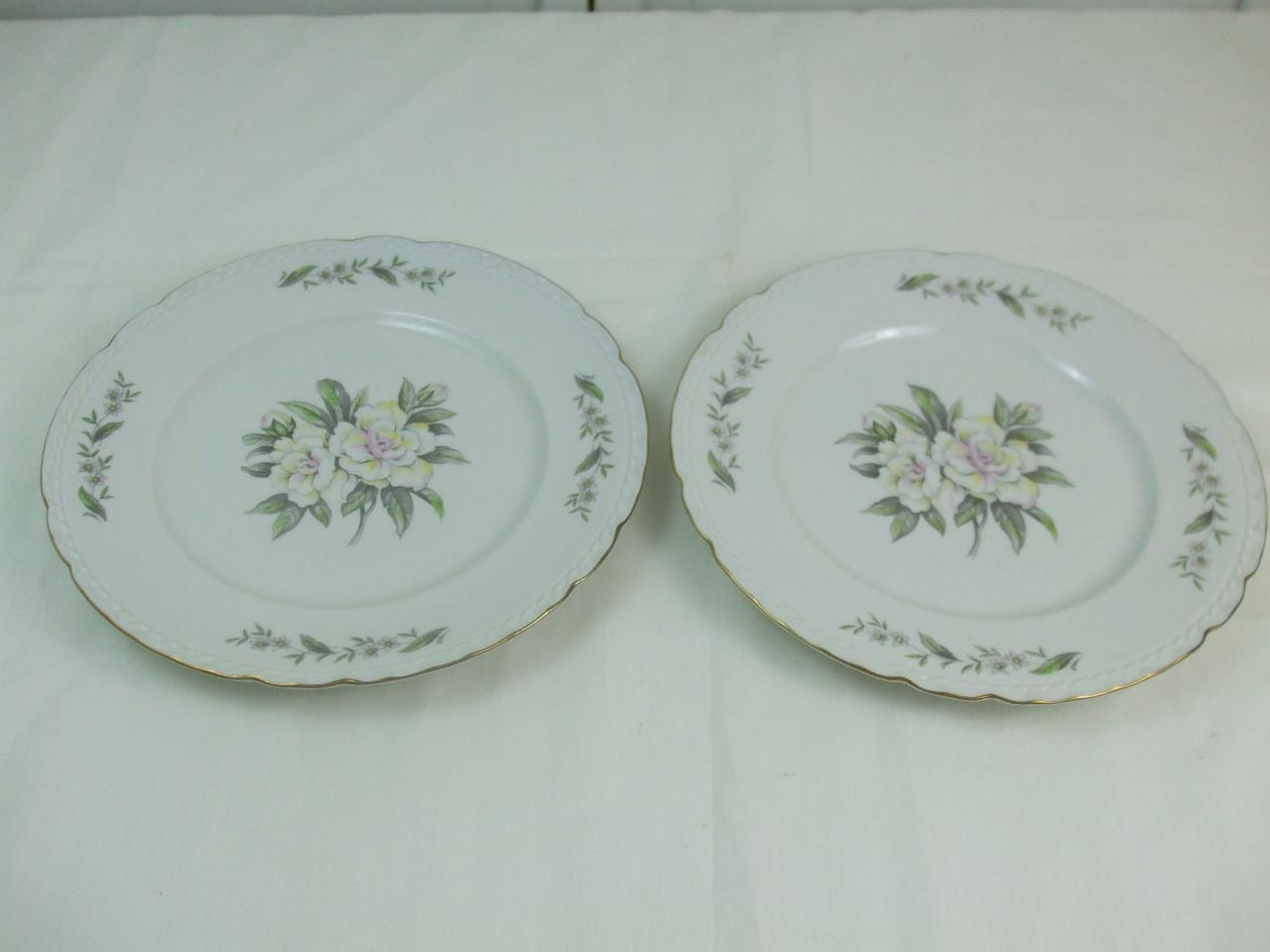 Primary image for 2 Dinner Plates Gardenia Pattern Gold Edges Embassy USA Vitrified China 10.25""