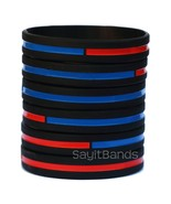 Set of Combined Thin Red Thin Blue Line Wristbands - Firefighter Police ... - £3.59 GBP+