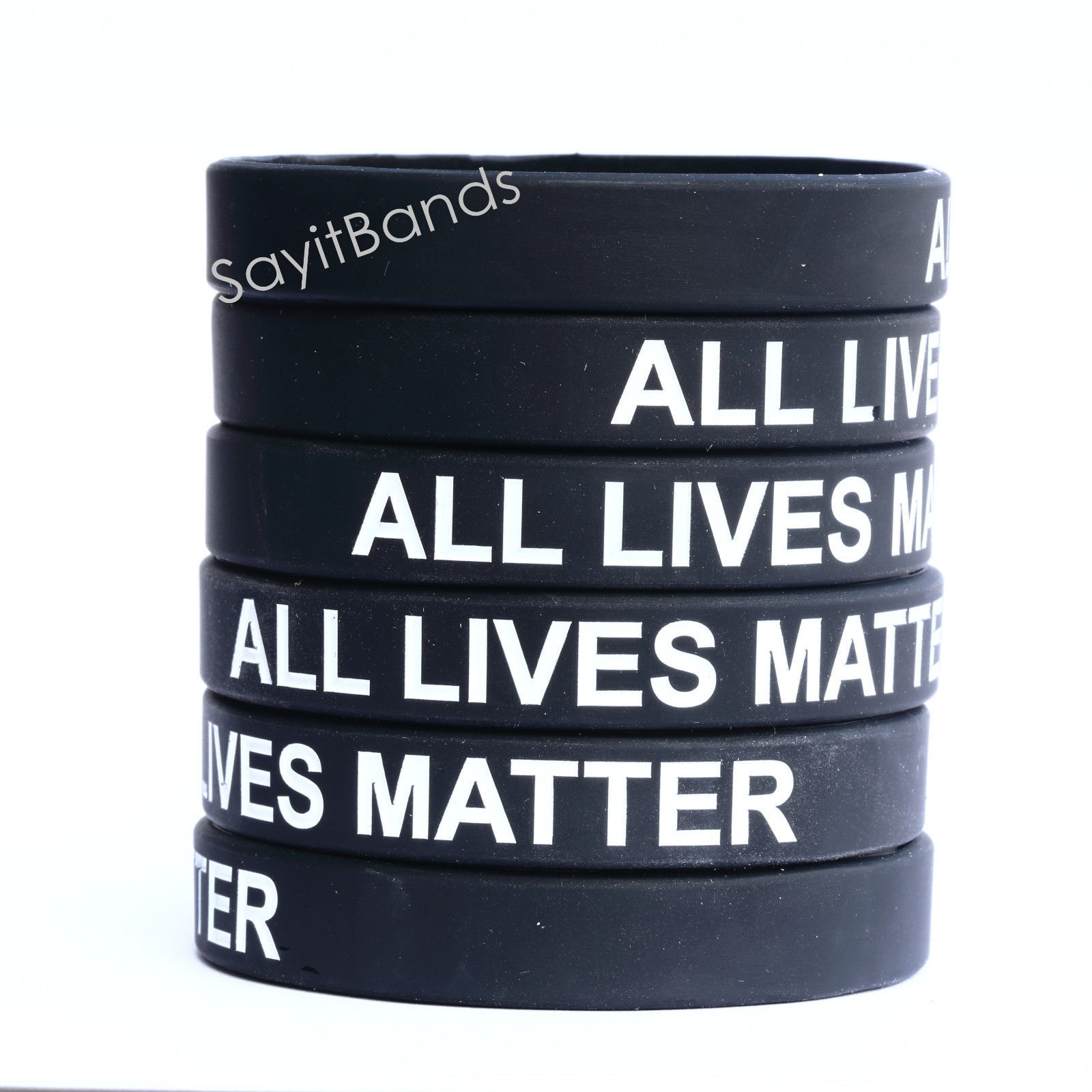 Primary image for 100 ALL LIVES MATTER Silicone Wristband Adult or Child Size - One Hundred Bands