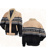 Mens Tan/Black Southwestern Western Suede Leather Jacket Coat Faux Sheep... - $54.92