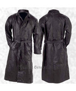 Mens Lined Black Leather Button Front Trench Over Coat Full Length Duste... - $39.76+