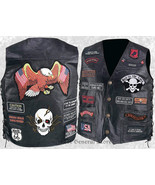 Mens Black Leather Motorcycle Vest Waistcoat with 23 Biker Patches Eagle... - $28.99+