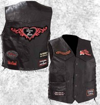 Black Leather Ladies Womens Motorcycle Vest Lady Rider with Biker Patche... - $21.99+
